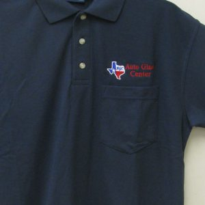 Image of shirt with auto glass logo embroidered on it
