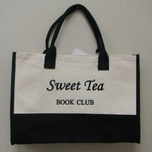"Image of bag with ""sweet Tea"" embroidered on the side."