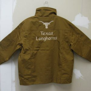 "Photo of jacket with ""Texas Longhorns"" embroidered on back."